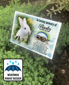 Personalised outdoor Rabbit grave marker, tree stake, Pet memorial plaque.