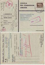 # PISA: LIBRERIA NISTRI - LISCHI CEDOLA COMMISSIONI LIBRARIE per Lipsia  1940