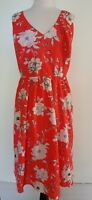 CITY CHIC Bright Coral Satin Floral Dress Size M BNWT