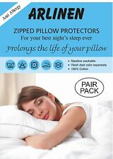 Anti-Allergy Pair Of Pillow Protectors 100% Cotton, Zipped Entry + Free U.K. P&P
