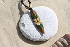 Wooden Retro Flower Surfboard Necklace Surfer Surf Lucky Talisman / N243b