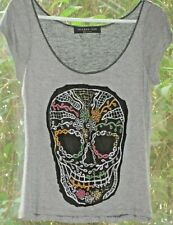 The Clas-sic Size M Soft Gray T Shirt Embellished With a Bright Sparkly Skull