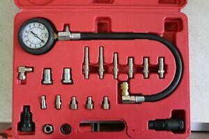 New 19PC Diesel Oil Cylinder Pressure Manometer Test Meter Gauge Tester Kit Set