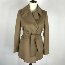Band Of Outsiders Boy Tan Belted Double Breast Lined Peacoat Jacket Blazer Sz 1