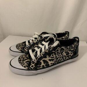 Coach Barrett Animal Print Cheetah Leopard Sneakers Black Patent Leather 6.5B
