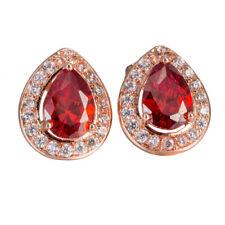 Vintage red ruby womens teardrop crystal stud earrings wholesale gold filled