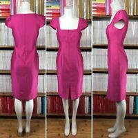 LK BENNETT Dress 6 Pencil Cocktail Pink Silk Wool Cap Sleeve Knee Length US 2
