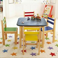 Blackboard Top Wooden Play Table and Chairs Nursery Set for Kids Children