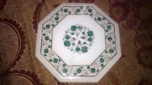 "12"" White Marble Console Coffee Table Top Malachite Inlay Floral Art Decor E1137"