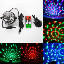 3W Mini RGB LED Stage Light Sound Active 3 Leds USB Remote Car Disco Ballroom