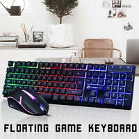 2.4GHZ  Backlight Wired Mouse Suspended Backlit + Keyboard Set USB Rainbow NEWS