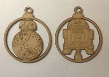 2 x wooden character baubles Christmas tree decoration 3mm mdf Laser Cut Wood