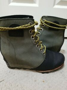 Sorel PDX Wedge Bootie Boot Black Army Green Camo Soles 8.5 Yellow Laces