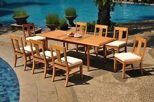 "9pc Grade-A Teak Dining Set 94"" Rectangle Table 8 Osborne Armless Chair Outdoor"