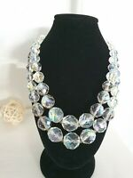 Vintage Double Stranded Faceted Graduated Aurora Borealis Crystal Necklace