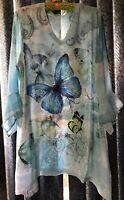 Indigo Soul Wm. L Embellished Butterflies Jacobean Asymmetrical Knit Top Shirt