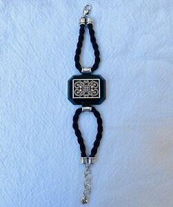 BRIGHTON Bracelet Emerald Cut Black Stone Double Braid Lobster Clasp