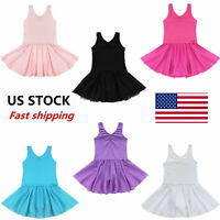US Girls Ballet Dance Dress Gymnastics Tutu Leotard Tutu Skirt Dancewear Costume