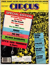 CIRCUS MAGAZINE March 1981 AC/DC Poster Rush Black Sabbath Styx Fleetwood Mac