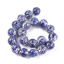 20pc Handmade Blue White Porcelain Bead Round 18mm Jewelry Bead Clay Loose Beads