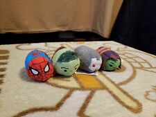 """Tsum Tsum Disney Marvel Approx 3.5"""" Spider-Man, Gamora, Hulk & War Machine Lot"""