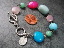 Sterling Silver Toggle Clasp HANDPICKED Melanie Mauldin Stone Bracelet 19.6 Gram