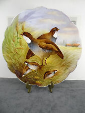 """14""""Limoges France Hand Painted Bird Pheasan Porcelain Wall plaque Signed Pascaud"""