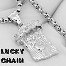 """STAINLESS STEEL SILVER JESUS FACE HEAD PENDANT 24""""ROUND BOX CHAIN 34g E422"""