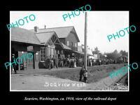 OLD POSTCARD SIZE PHOTO OF SEAVIEW WASHINGTON THE RAILROAD DEPOT STATION c1910