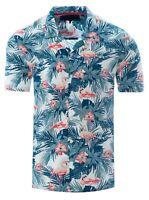 Soulstar Mens Cubano Collar Short Sleeve Summer Flamingo Hawaiian Shirt White