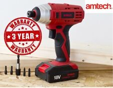 Amtech 18V 1/4'' Impact Driver Drill Cordless Drill With Case Fast Charging LED
