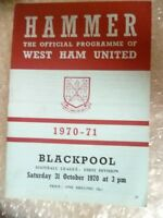 1970 West Ham United v Blackpool, 31 Oct (League Division One)