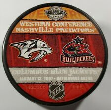NASHVILLE PREDATORS VS COLUMBUS BLUE JACKETS NHL 2006 LIMITED EDITION PUCK TBX +