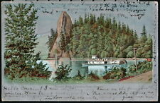 COLUMBIA RIVER OR Rooster Rock Paddleboat Antique Silver Foil Postcard Vtg PC