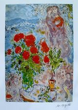 "MARC CHAGALL ""RED BOUQUET WITH LOVERS"" Facsimile Signed & Numbered Lithograph"
