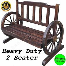 Outdoor Wooden Dec Park Bench Garden Decoration Seat Wheel Patio