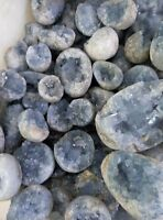11LB Natural celestite Blue Calcite Crystal Geode Mineral Specimen WHOLESALE