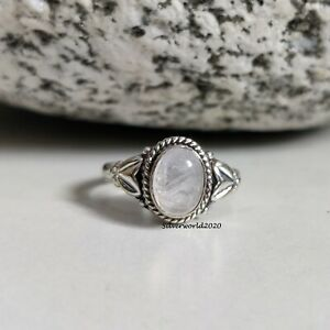Moonstone Ring Band Ring 925 Sterling Silver Plated Handmade Ring Size 7 mj57