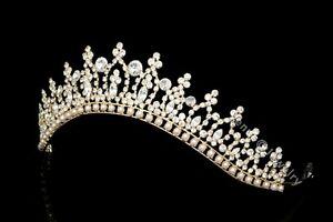 Gold Bridal Pageant Rhinestones Crystal Pearls Wedding Crown Tiara 7183