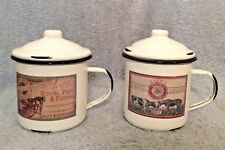 Metal Enamel Tin Cups (2) Lids Reproduction Vintage Farm Supply Labels Hong Kong
