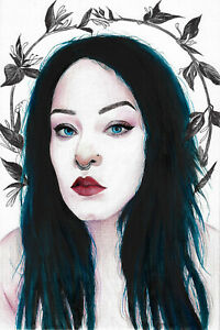 original drawing 20,5 x 30,5 cm 52YkV art modern Mixed Media female portrait