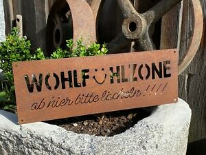 Edelrost Schild Wohlfühlzone 40 x 14 cm Garten Dekoration