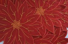 7 Brighten the Season Fabric Poinsettia Christmas Holiday Table Mats Placemats