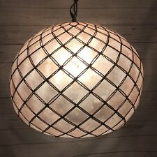 Capiz Shell Sphere Mid Century Modern Swag Hang Lamp Hanging Light Diamond Star