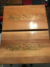 Pair Vintage Mid Century Nega File Slide Coin Storage Box Case RARE Asian Decal