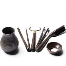 classical chadao tea accessories 6pcs porcelain vase ebony wood cup holder spoon
