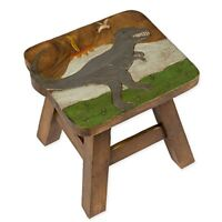 Tyrannosaurus Rex Dinosaur Design Hand Carved Acacia Wood Decorative Short Stool