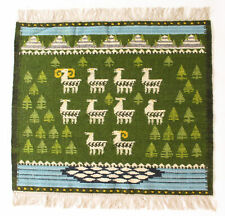 More details for pasture vintage modernist hand crafted polish textile wall hanging / rug 1970's