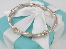 Tiffany & Co Silver Bamboo Oval Bangle Bracelet