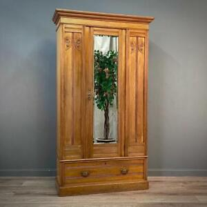Attractive Antique Victorian Carved Pine Wardrobe With Drawer Base